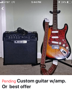 Original listing for Squier Affinity SE Sunburst guitar for sale under $100